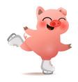 cartoon funny christmas pig skating on rink vector image vector image