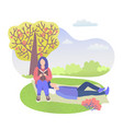 city park character couple girl sitting and vector image vector image