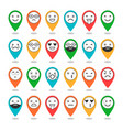 colored flat icons of emoticons on pins smile vector image vector image