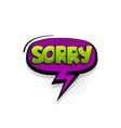 comic text sorry speech bubble pop art style vector image vector image