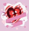 couple red teddy bear in heart shape greeting vector image vector image