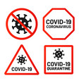 covid-19 signs ban attention and warn set vector image vector image