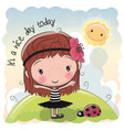 cute cartoon girl and sun vector image vector image