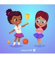 Cute girls with prize Back to school vector image