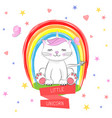 cute kitty and inscription little unicorn vector image vector image