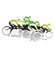 cycling race at full speed going downhill vector image vector image