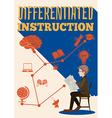Differentiated instruction sign with a man vector image