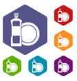 dishwashing liquid detergent and dish icons set vector image