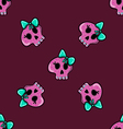 Doodle seamless pattern with skull - 2 vector image vector image