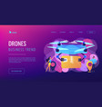 drone delivery concept landing page vector image vector image