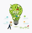 Ecology infographic green bulb shape with farmer vector image vector image