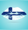 finland flag lipstick on the lips isolated on a vector image