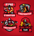 firefighter department badge set vector image vector image