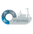 fishing vessel with infographics vector image
