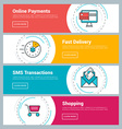 Flat Design Concept Set of Web Banners Online vector image vector image