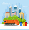 garbage truck or recycle truck in city garbage vector image vector image