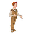 happy young man gesturing vector image vector image