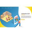 hardware online shop landing page website vector image vector image
