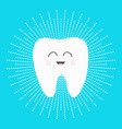 healthy white tooth icon with smiling face cute vector image vector image