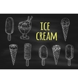 Ice cream chalk sketch icons on blackboard vector image vector image