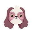 little dog head cartoon isolated icon white vector image