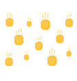 lot falling yellow coins in pixel art vector image vector image