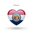 Love Missouri state symbol Heart flag icon vector image vector image