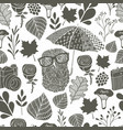 monochrome seamless pattern with owl under the vector image