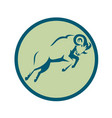 mountain sheep jumping circle icon vector image vector image