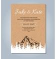 Mountain wedding invitation rustic card vector image vector image