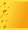 oil gold bubbles isolated on yellow background vector image