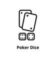 poker dice line icon vector image vector image