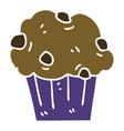 Quirky hand drawn cartoon chocolate muffin cake