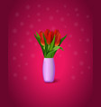 red tulips on purple background bouquet red vector image vector image