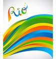Rio design for sport games of rio with color art vector image vector image