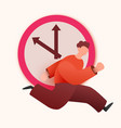 running man with big clock late or deadline vector image vector image