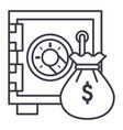 safe bank with money bag line icon sign vector image vector image