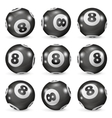 Set of billiard balls eights from different angles vector image vector image