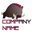 simple logo design a wild boar with blank vector image vector image