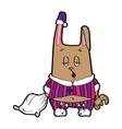 Sleepy bunny pajamas vector image