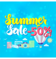 Summer Sale 50 Off Lettering over Blue Blurred vector image vector image