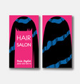 template design card with long black hair on pink vector image vector image