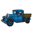 the vintage blue truck vector image vector image