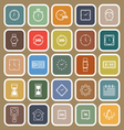Time line flat icons on brown background vector image vector image