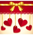 Valentines day greeting card with hearts and bow vector image