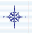 wind rose sign navy line icon on notebook vector image vector image