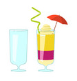 wineglass and exotic cocktail vector image vector image
