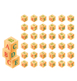 Wooden blocks with letters and numbers alphabet vector image