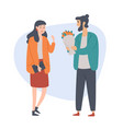 young man gives a flovers to his girlfriend vector image vector image