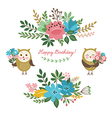 floral design elements and cute owls vector image